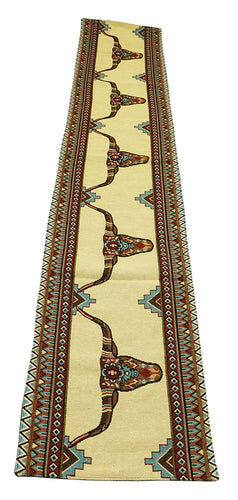 Raakha Painted Longhorn Steer Southwestern Jacquard Table Runner 13 x 72 Inches