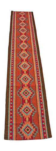 RaaKha Luna Southwestern Woven Jacquard Table Runner Brown Red Orange 13