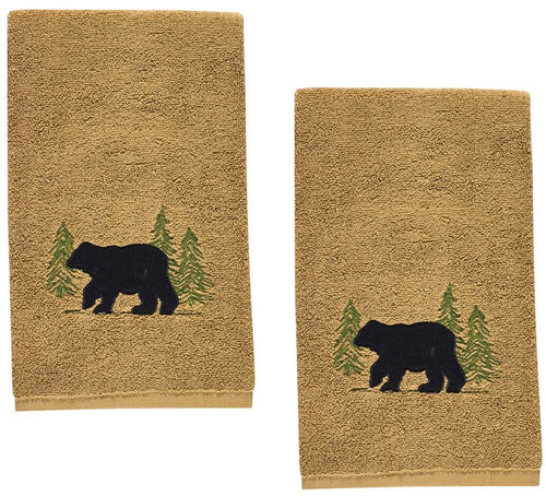 Park Designs Black Bear Cabin Lodge Embroidered Hand Towel 28 x 16 - Set of 2