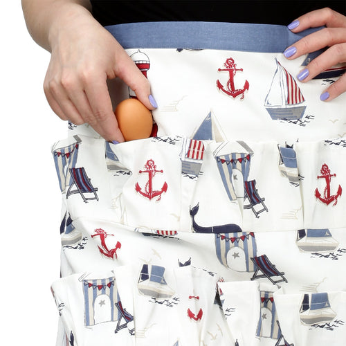 Cackleberry Home Egg Collecting & Gathering Apron 12 Pockets, Nautical Ocean