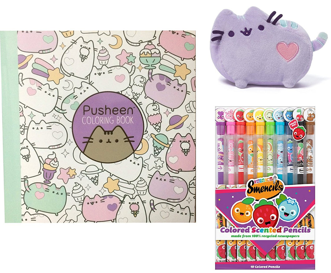 Pusheen Coloring Book with Scented Colored Pencils & Heart Plush - 3 Color Choices