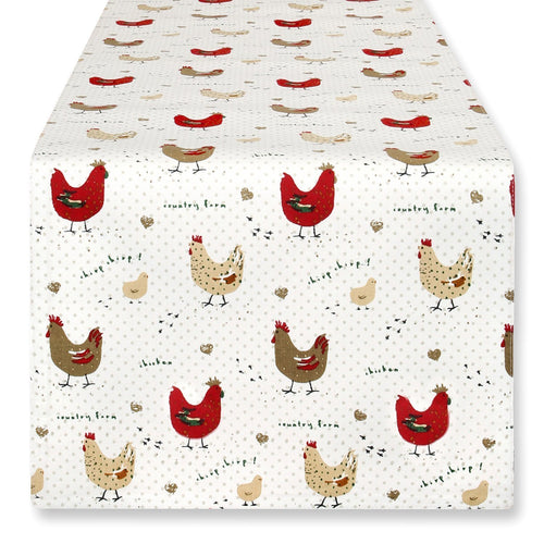 Cackleberry Home Farmhouse Chicken Table Runner Cotton Reversible 13 x 70 Inches