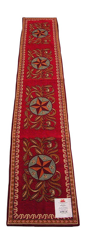 RaaKha Western Star Woven Jacquard Table Runner Horseshoes Gold Red 13