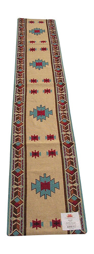 RaaKha Carrizo Southwestern Woven Jacquard Table Runner Gold Turquoise 13