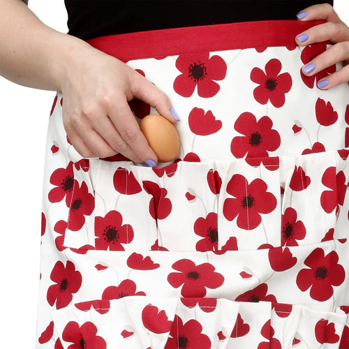 Cackleberry Home Egg Collecting & Gathering Cotton Apron 12 Pockets, Red Poppies