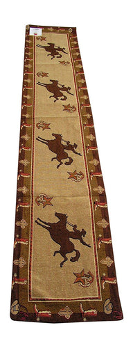 RaaKha Cowboy Bronco Western Jacquard Table Runner Stars Gold Brown 13