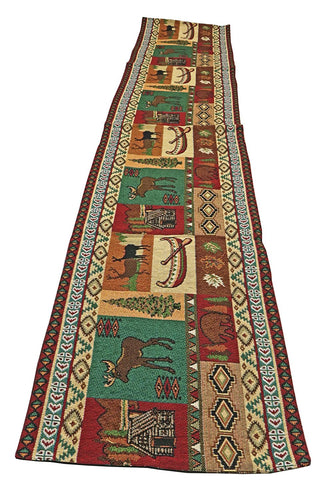 Raakha Mountain Life Rustic Lodge Jacquard Table Runner Browns Green Red 13 x 72