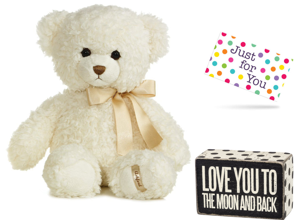 Love You To The Moon And Back Box Sign And Plush Teddy Bear
