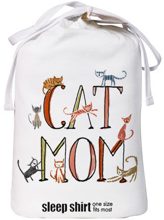 ... Relevant Products Cat Mom Nightshirt Cat Lover Funny Cute Cotton White  One Size 03393e896