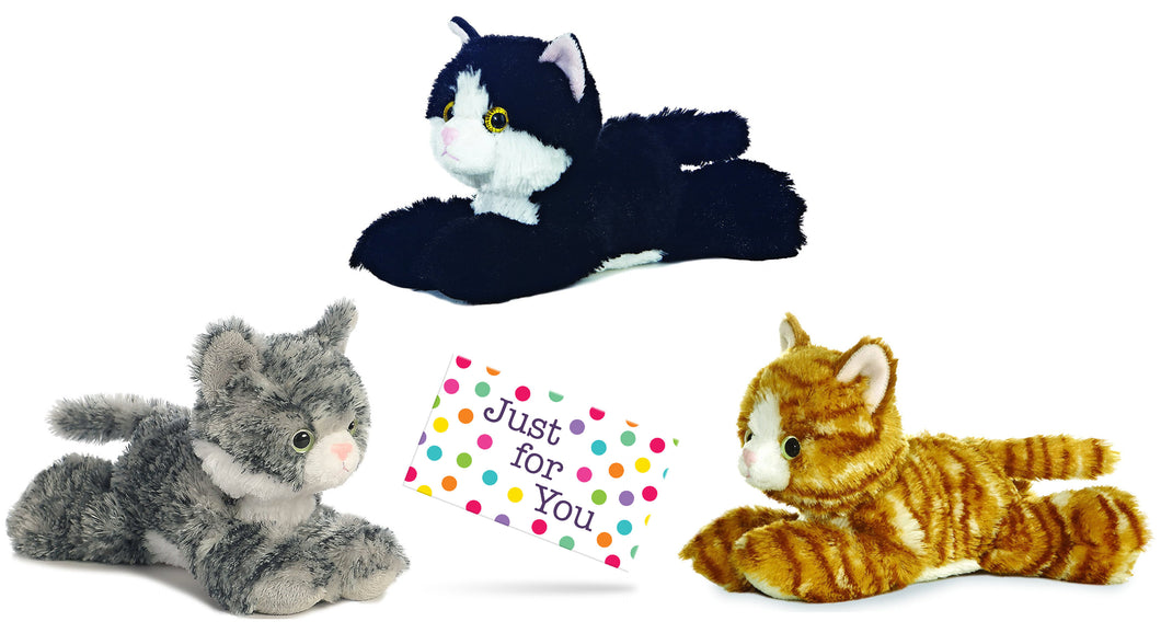 Aurora Mini Flopsie Beanbag Plush Cats Set Gray Brown Tabby Black