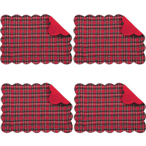 C&F Home Red Plaid Quilted Reversible Scalloped Placemats 13 x 19