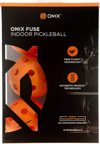 Onix Fuse Orange Indoor Pickleballs Authentic Bounce USAPA Approved, 6 Pack