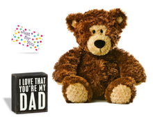 I Love That You're My Dad Chalkboard Box Sign Father Gift Set Plush Bear or Lion