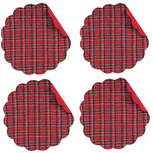 C&F Home Red Plaid Quilted Reversible Scalloped Round Placemats 17