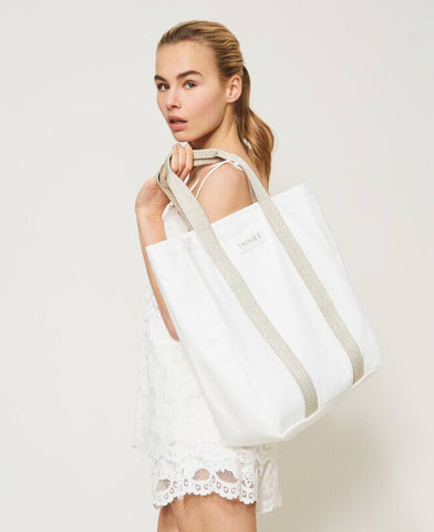Borsa Shopper in Canvas di TWINSET