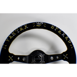 VERTEX - SPEED GOLD/SILVER  330mm SUEDE STEERING WHEEL
