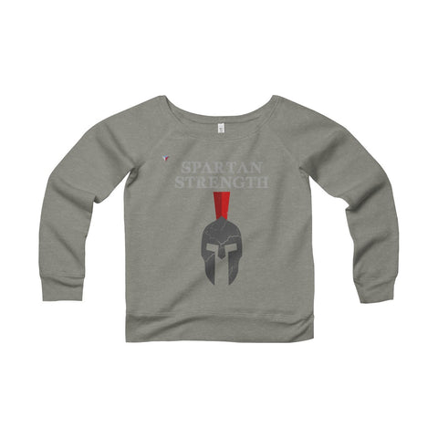 Spartan Strength Grey Gym Women's Sponge Fleece Wide Neck Sweatshirt
