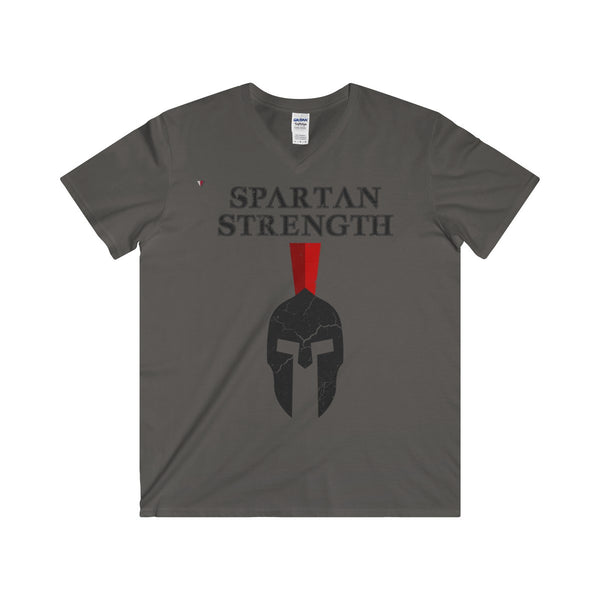 Spartan Strength Black Gym Softstyle® Adult V-Neck T-Shirt