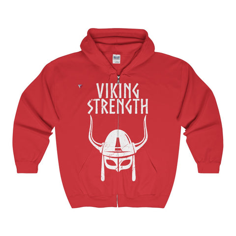 Viking Strength White Gym Full Zip Hooded Sweatshirt