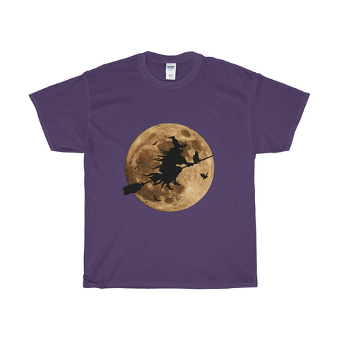 Halloween Moon Witch Heavy Cotton T-Shirt