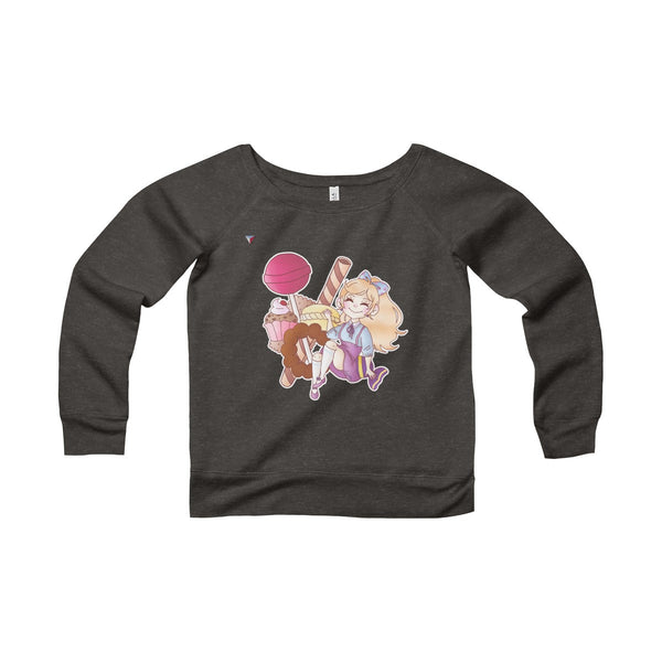 Cute Girl With Sweets Women's Sponge Fleece Wide Neck Sweatshirt