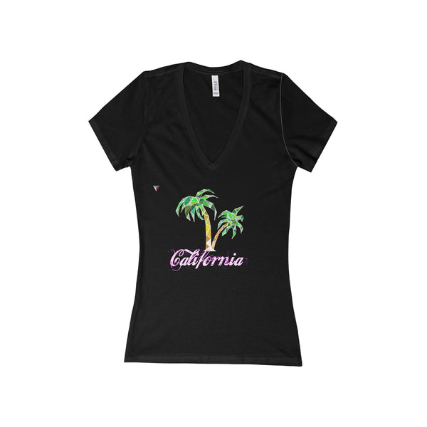California Palm Tree - Women's Deep V-Neck Jersey Tee