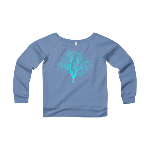 Cyan Tree - Women's Sponge Fleece Wide Neck Sweatshirt