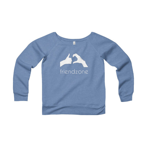 Friendzone White Women's Sponge Fleece Wide Neck Sweatshirt