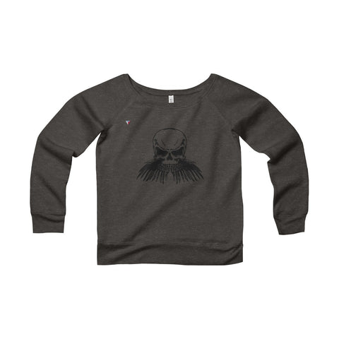 Black Skull Women's Sponge Fleece Wide Neck Sweatshirt