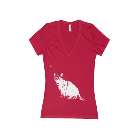 White Cat Women's Deep V-Neck Jersey Tee