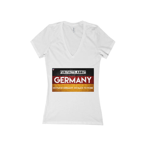 Germany Fun Facts Women's Deep V-Neck Jersey Tee