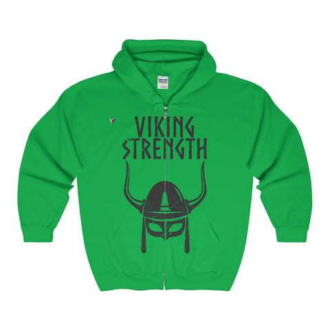 Viking Strength Black Gym Full Zip Hooded Sweatshirt