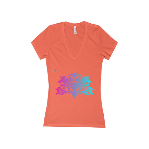 Colorful Baroque Women's Deep V-Neck Jersey Tee