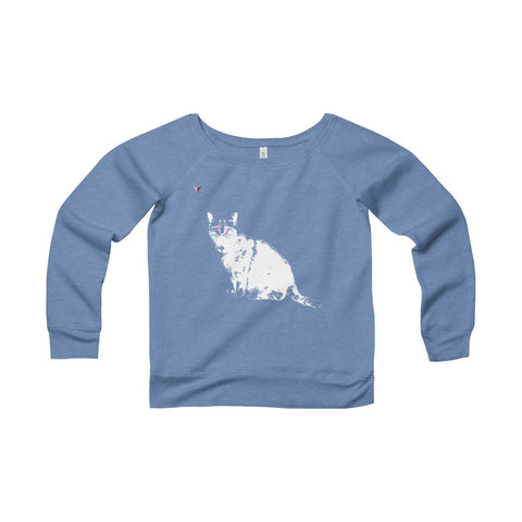 White Cat Women's Sponge Fleece Wide Neck Sweatshirt