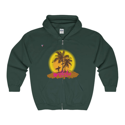 Hawaii Style Aloha Full Zip Hooded Sweatshirt
