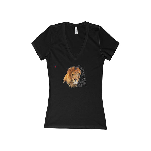 Lion Polygon - Women's Deep V-Neck Jersey Tee