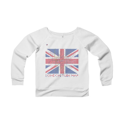 London Tube Map Women's Sponge Fleece Wide Neck Sweatshirt