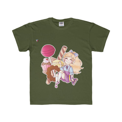 Cute Girl With Sweets Youth Regular Fit Tee