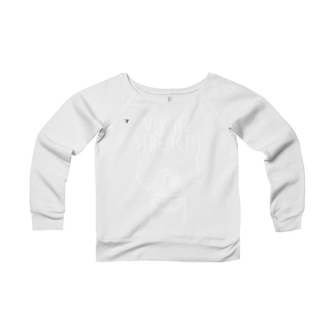 Viking Strength White Gym Women's Sponge Fleece Wide Neck Sweatshirt