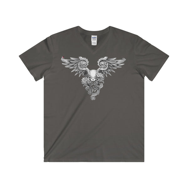 Winged Skull Softstyle® Adult V-Neck T-Shirt