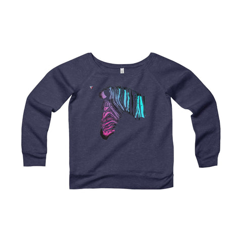 Neon Zebra Women's Sponge Fleece Wide Neck Sweatshirt
