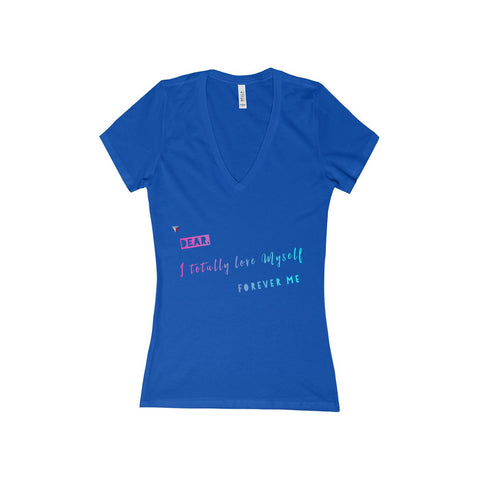 Love Myself Women's Deep V-Neck Jersey Tee