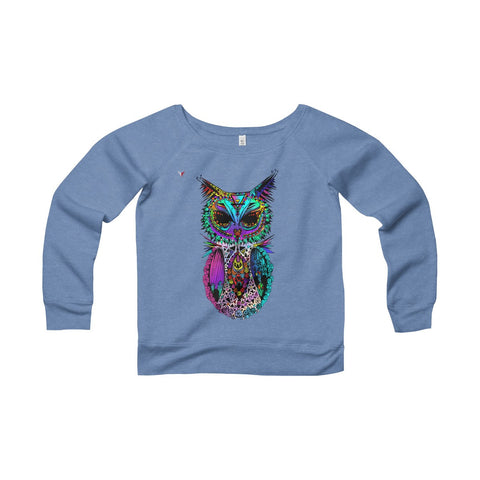 Mandala Owl Women's Sponge Fleece Wide Neck Sweatshirt