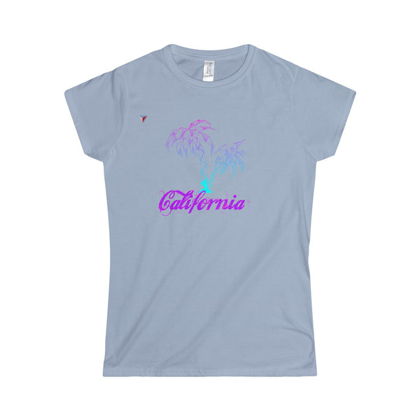 California Palm Tree Neon - Softstyle Women's T-Shirt