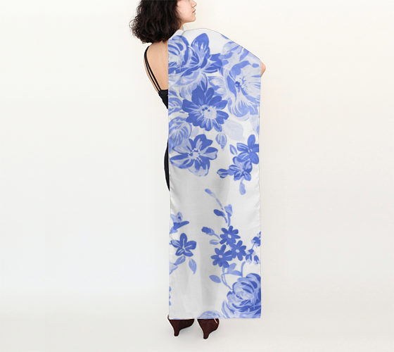 "Blue Floral Long Scarf (16"" x 72"")"