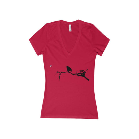 Black Bird Women's Deep V-Neck Jersey Tee