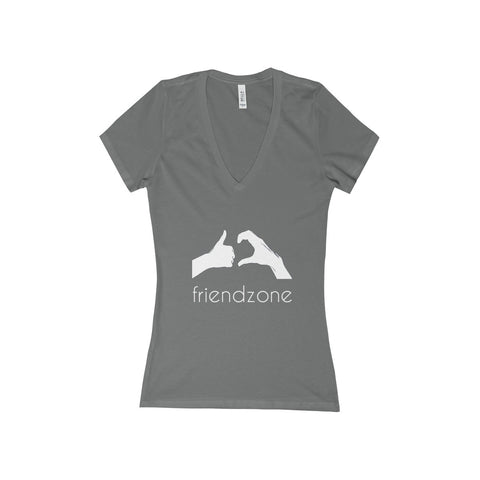 Friendzone White Women's Deep V-Neck Jersey Tee