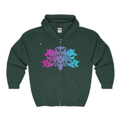 Colorful Baroque Full Zip Hooded Sweatshirt