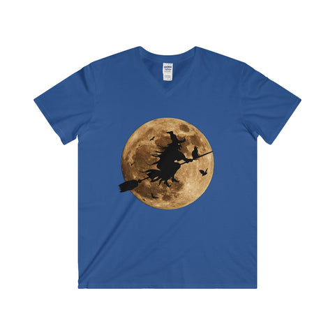 Halloween Moon Witch Softstyle® Adult V-Neck T-Shirt