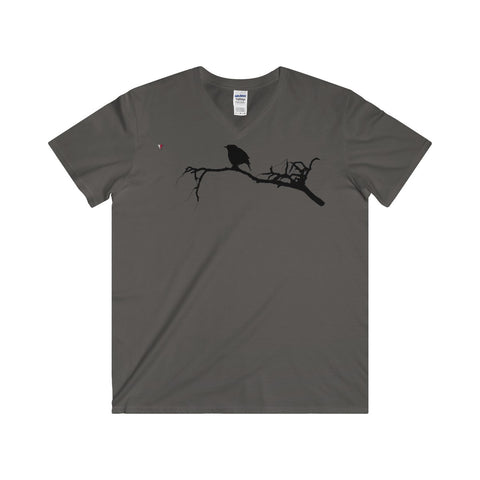 Black Bird Softstyle® Adult V-Neck T-Shirt